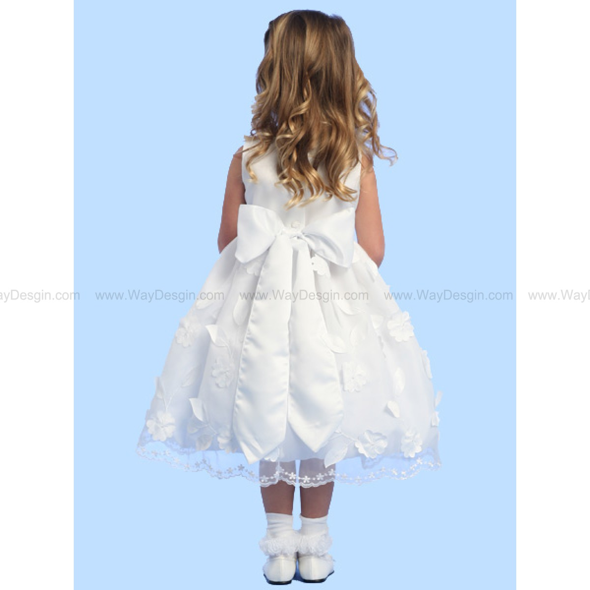 Blossom White Sleeveless Satin Bodice Pop Up Satin Flowers