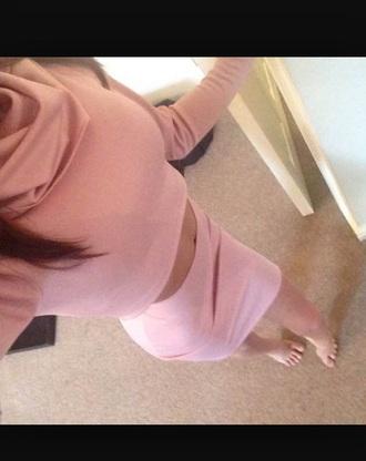 skirt two-piece pink polar neck top