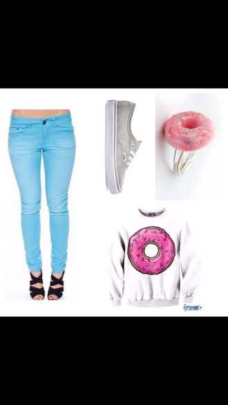 sweater donut ring crewneck colored jeans gray vans vans jeans jewels shoes
