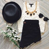 t-shirt,white,hat,hat love,jewels,jeans,shorts,black,sunglasses,tank top,top,crop tops,spring outfits,summer outfits,jewelry,fashion,trendy,outfit,blouse,flowers,shirt,necklace,floral,white tank top,black shorts,forever 21,clothes,vintage,tumblr outfit,white crop tops