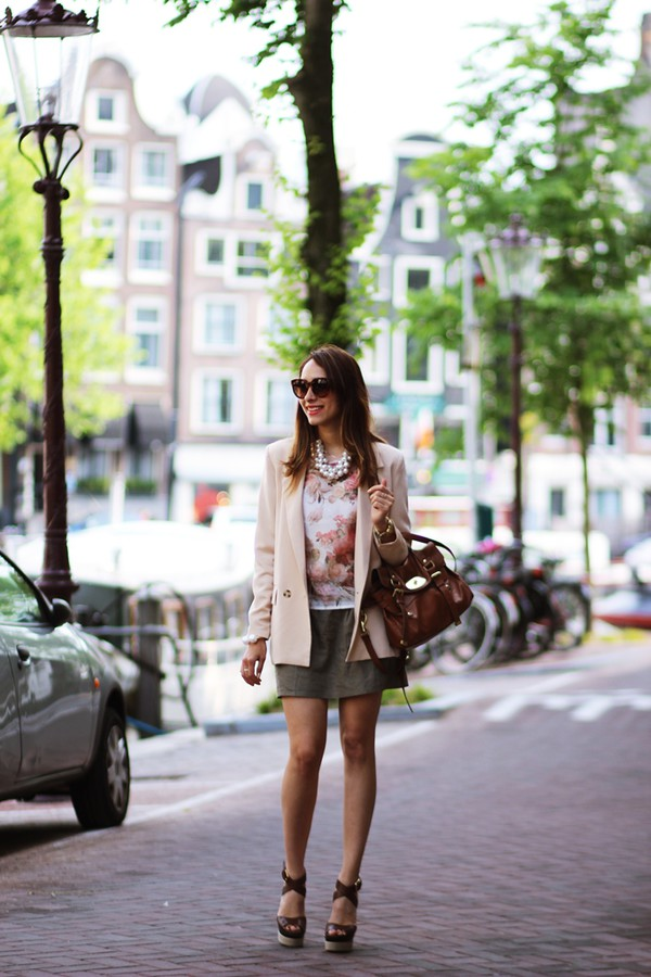 preppy fashionist sunglasses jacket blouse skirt bag shoes jewels