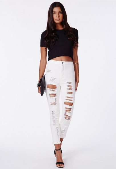 Missguided - Brigitte Ripped Disco Fit Jeans in Off White