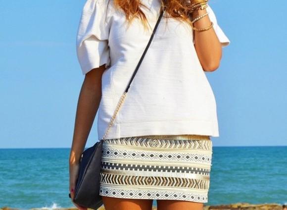 aztec fashion skirt white gold