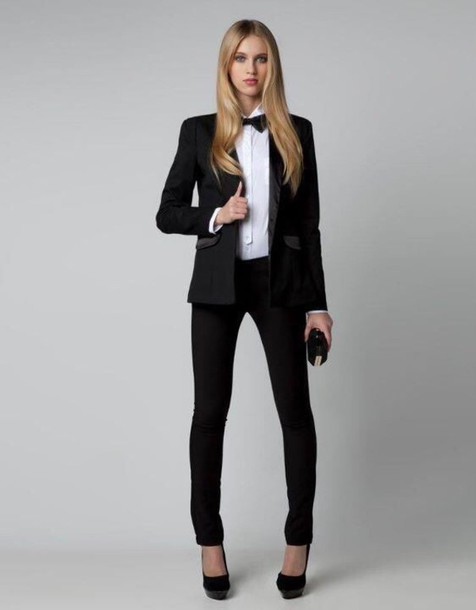 Pants: tuxedo, suits for women, suit, boyish - Wheretoget