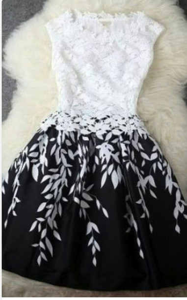 Black and white contrast color leaf bud silk dress a