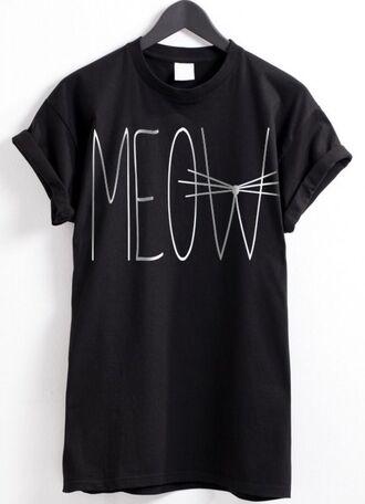 shirt clothes black black t shirt t-shirt cats meow