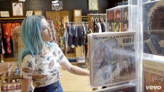 top vintage grunge hippie hair blue hair pastel hair