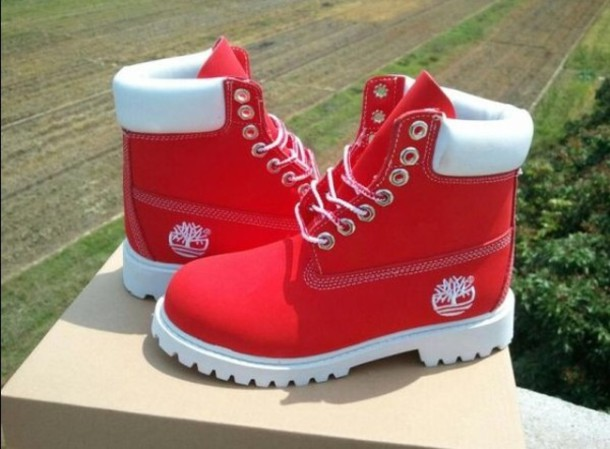 All white timberland boots red