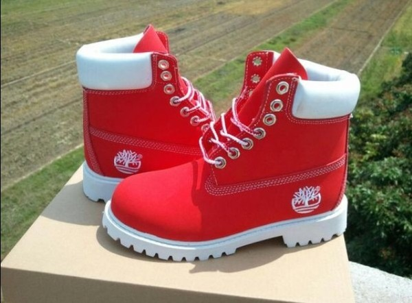 shoes red timberlands jewels