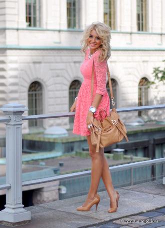 dress clothes big purse high heels coral dress floral jacket