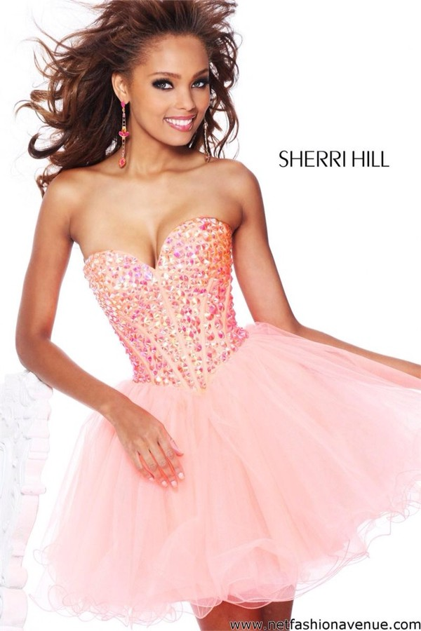 dress pink dress party dress sherri hill homecoming dress short prom dress