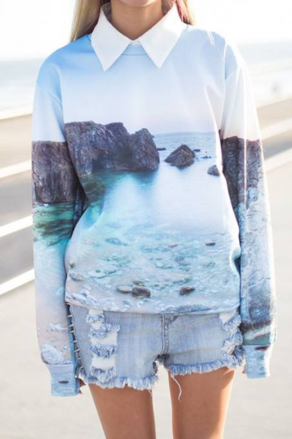 blouse shirt blue shirt nature print