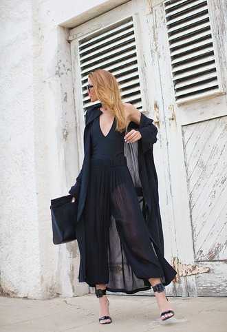 native fox blogger see through black pants black sandals all black everything bodysuit black coat