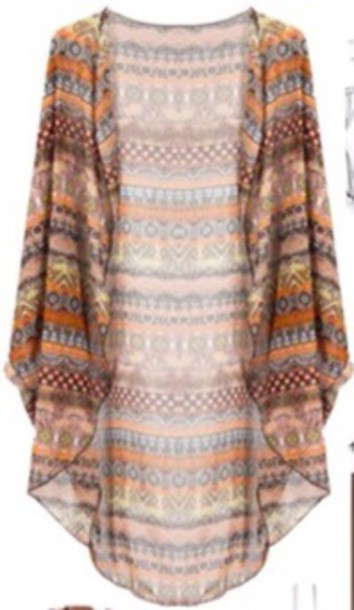 Cardigan: tribal pattern, aztec, kimono, hippie, boho - Wheretoget