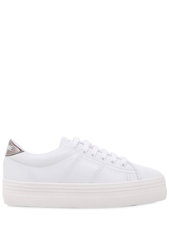 sneakers platform sneakers leather silver white shoes