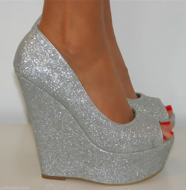 Shoes: silver, high heels, silver platforms, glitter shoes, prom ...