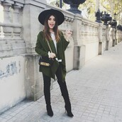 green coat,big hat,black hat,blogger,black boots,moschino,forest green