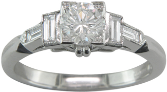 Unique Diamond Platinum Ring with Baguette Diamond Shoulders-Ready to Wear UK