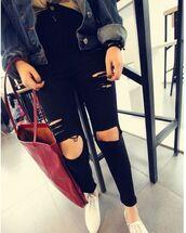 black pants,black leggings,black jeggings,ripped jeans,skinny jeans,www.ustrendy.com
