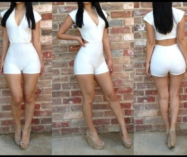 romper white cute back out