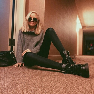 sweater thick sweater chunky sweater grey sweater gray sweaters turtleneck sweater leggings black leggings combat boots black boots boots round sunglasses huge sunglasses grunge grunge sweater grunge wishlist tumblr outfit casual style stylish trendy outfit idea fashion inspo cute blogger fashionista on point clothing