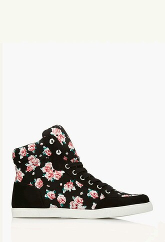 shoes high top sneakers floral pattern sneakers
