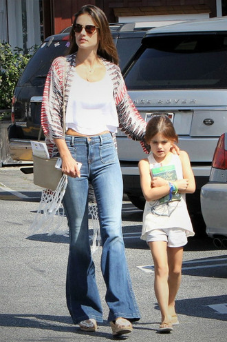 jeans top crop tops cardigan boho alessandra ambrosio flare jeans