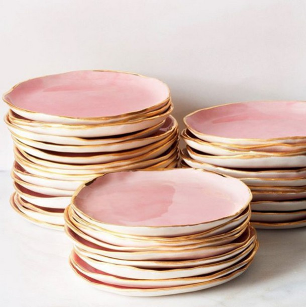 like follow & home accessory dinnerware pink gold gift ideas pastel pink ...