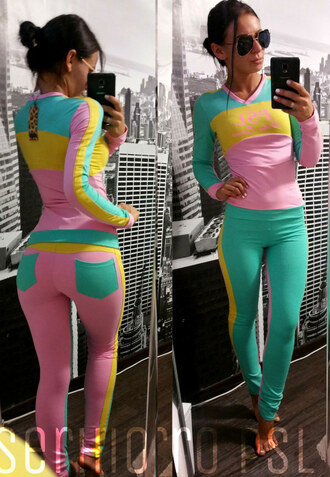 sweatpants tracksuit cute outfit girly wishlist pastel colorblock