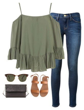 shirt army green khaki off the shoulder