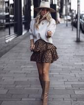 skirt,mini skirt,wrap ruffle skirt,leopard print,knee high boots,leather boots,sweater,knitted sweater,hat,chain necklace,shoulder bag