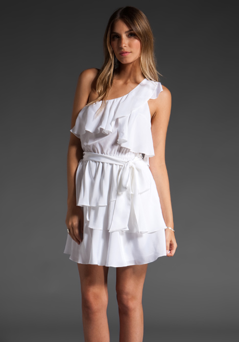 Jay godfrey robertson one shoulder asymmetrical tiered dress in white at revolve clothing