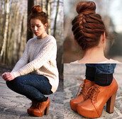 shoes,platform shoes,high heels,brown shoes,brown leather boots,knitted sweater,sweater,jeans
