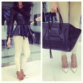 jacket,bag,shoes,leather jacket,perfecto,white jeans,spiked shoes,high heels,spiked heels,black,leather,peplum,belt,shoes and bag