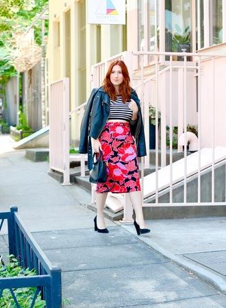 tf diaries blogger jacket top skirt shoes bag pumps leather jacket printed skirt striped top handbag