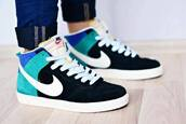 shoes,nike,basket,blue,green,high top sneakers,suede sneakers