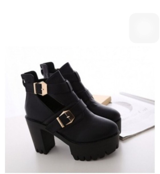 shoes black cunky boot buckles