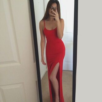 dress red dress red slit dress maxi dress cute dress