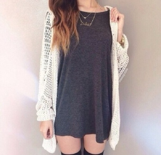 dress cardigan style fashion grey dress outfit