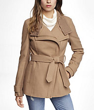ASYMMETRICAL KNIT TRIMMED WOOL BLEND COAT | Express