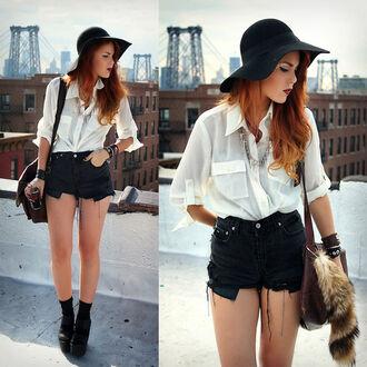 blouse white blouse black shorts fur bag hat cross necklace amazing fab perf jewels