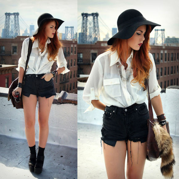 cross jewels necklace hat fab blouse must have amazing white blouse black shorts fur bag perf