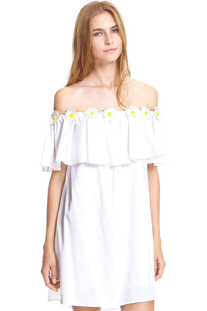 ROMWE | Daisy Embroidery Embellished Flouncing White Dress, The Latest Street Fashion