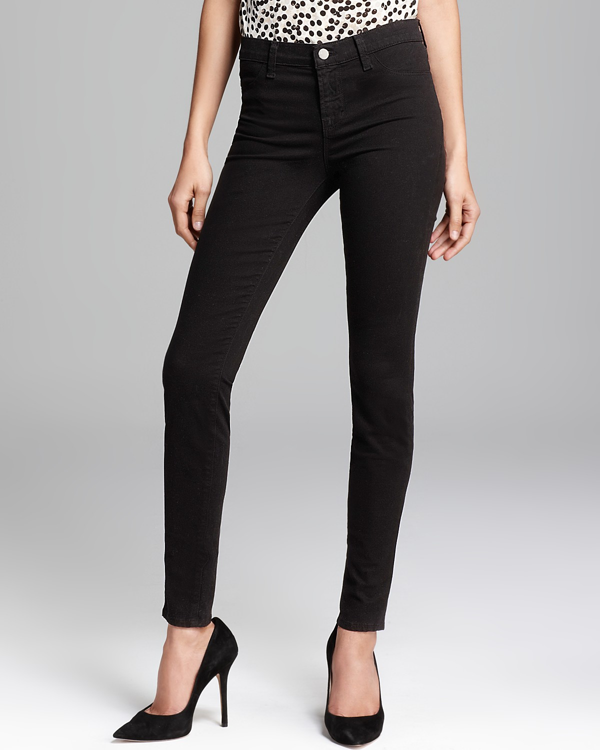 J Brand Jeans - Luxe Sateen 485 Super Skinny in Black | Bloomingdale's