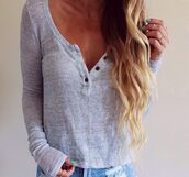 sweater,cardigan,grey,jumper,buttons,blouse,top,t-shirt,a thin and loose sweater,soft sweater,fall outfits,button up,cute,cute sweaters,fall sweater,buttons on front,shirt,thin,colorful,nice,fashion,style,classy,girly,wow,amazing,lovely pepa,bottons,grey top,wavy hair,blonde hair,ripped jeans,jeans,long sleeves,buttons down,grey cardigan,button down,crop,long sleeve shirt,loose,grey t-shirt,grey sweater,basic,thermal,blue,henley,fine knit jumper,light,button,comfy,cozy,wide neck,low neck,chemise,casual,cool,Stylish Women's Pullover Long Sleeve Scoop Neck Solid Color Blouse,warm,tumblr,mint,trendy