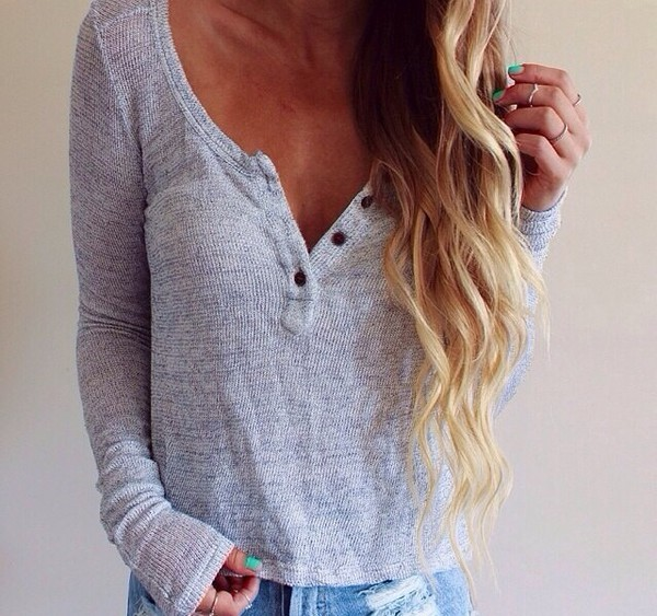 sweater cardigan grey jumper buttons blouse top t-shirt a thin and loose sweater soft sweater fall outfits button up cute cute sweaters fall sweater buttons on front shirt thin colorful colorful nice fashion style classy girly wow amazing lovely pepa bottons grey top wavy hair blonde hair ripped jeans jeans long sleeves buttons down grey cardigan button down crop long sleeves long sleeve shirt loose grey t-shirt sweater grey sweater basic thermal blue henley fine knit jumper light button loose loose comfy cozy wide neck low neck chemise grey casual cool Stylish Women's Pullover Long Sleeve Scoop Neck Solid Color Blouse warm tumblr mint trendy