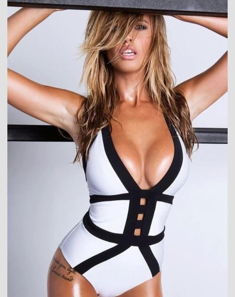 swimwear one piece black & white sexy swimwear black & white one piece cut out swimwear