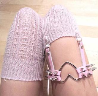 belt garter rivet garters pu garters sexy leggngs