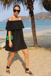 anine'sworld,blogger,dress,shoes,bag,sunglasses,jewels,black off shoulder dress,off the shoulder,off the shoulder dress,green bag,mini bag,black sunglasses,mini dress,short dress,sandals,flat sandals,black sandals,bardot dress