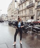 shoes,white shoes,mules,jeans,black jeans,blazer,top,blue top,black blazer,jacket